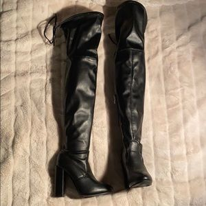 Shoes - Black Faux Leather Thigh High Boots